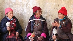 Women during Tsam mystery dance in Buddhist festival at Lamayuru, Ladakh, India Stock Footage