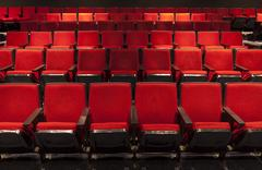 Rows of Red Theater Seating Stock Photos