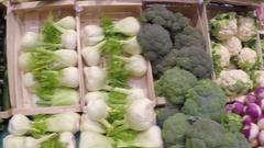 Farmers Market Vegatables Pan Stock Footage