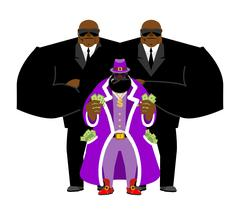 Pimp and bodyguard. Bright clothing and money. Pocket full of cash. Gold do.. Stock Illustration