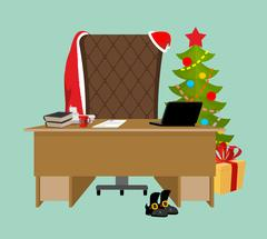 Empty Office Santa. Claus workstation. After work. Table and fir-tree. Lapt.. Stock Illustration