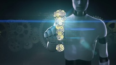 Robot, cyborg touched screen, Steel golden gears making Exclamation mark shape. Stock Footage