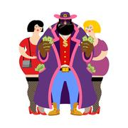 Pimp and prostitutes. Bright clothing and cigar. Gold dollar chain jewelry... Stock Illustration