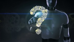Robot, cyborg touched Steel golden gears making question mark shape. Stock Footage