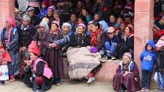 People during Tsam mystery dance in Buddhist festival at Lamayuru, Ladakh, India Stock Footage
