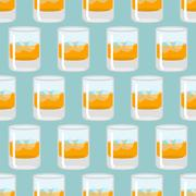 Glass of whiskey and ice seamless pattern. Scotch background. Drink texture.. Piirros