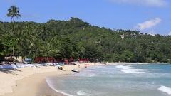 Thong Nai Pan Noi beach and sea water waves. Koh Phangan Island, Thailand Stock Footage
