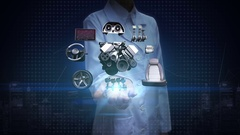 Female researcher, Engineer open palm, Vehicle parts, future car technology. Stock Footage