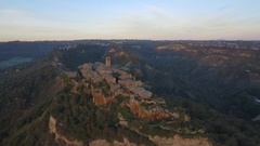 Civita di Bagnoregio in Italy, aerial view at dawn Stock Footage