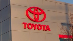 Toyota new and used car dealership storefront Stock Footage
