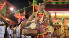 Ceremony in chinese temple in Phuket Town during Vegetarian festival, Thailand Stock Footage