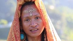 Portrait shemale Sirena Sabiha dancing at sunrise in Pokhara, Nepal Stock Footage