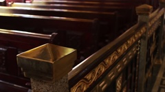Richly decorated wooden railing in church Stock Footage