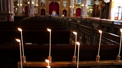 Long candle in the church Stock Footage