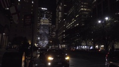 Cars driving Park Ave night MetLife Building background Midtown Manhattan 4K NYC Stock Footage