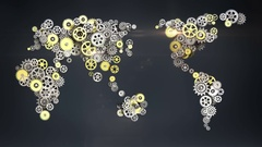 Steel golden gears making global world map. global technology.2 Stock Footage