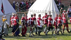 Group of medieval knights from Denmark Stock Footage