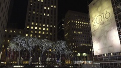 2016 Rockefeller Center tilting down ice skating rink winter holiday 4K NYC Stock Footage