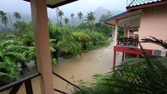 Flooding and tropical rain on the street in island Koh Phangan, Thailand Arkistovideo
