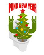 Punk New Year. Decorated fir stands in toilet bowl. unfriendly behavior. An.. Stock Illustration