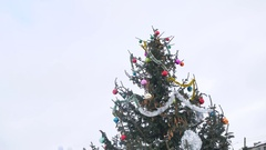 Christmas tree in decorative toys beautiful spruce winter nature tree new year Stock Footage