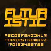 Futuristic decorative alphabet typeface Stock Illustration