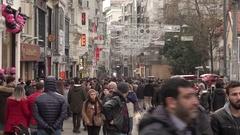 People walking on Istiklal Street in Istanbul, Turkey (Editorial) Stock Footage