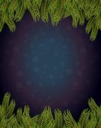 Branches of spruce frame. Snowflakes fly. Snowfall on dark Background for C.. Stock Illustration