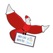 Christmas Dove carries mail to Santa Claus. postal pigeons in Santas cap an.. Piirros