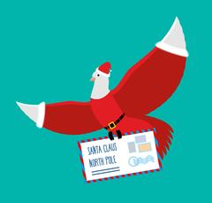 Christmas Dove carries letter to Santa Claus. postal pigeons in Santas cap .. Piirros