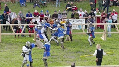 Team of medieval knights from Quebec (Canada) fight with knights from France Stock Footage