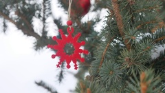 Toy decoration winter spruce hanging on christmas tree christmas new year Stock Footage