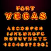 Vegas font. Glowing lamp letters. Retro Alphabet with lamps. Vintage show A.. Piirros