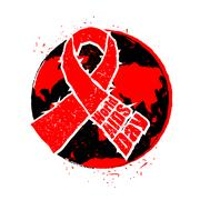 World AIDS Day. Red ribbon in grunge style. Spray and scratches. Noise and .. Stock Illustration
