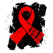 World AIDS Day in grunge style emblem. Red ribbon logo. Spray and scratches.. Stock Illustration