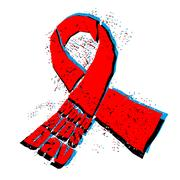 World AIDS Day emblem. Red ribbon in grunge style logo. Spray and scratches.. Stock Illustration