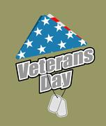 Veterans Day. USA flag symbol of mourning and grief for fallen soldiers. Em.. Stock Illustration