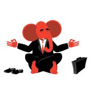 Red Elephant Republican meditating. Symbol of  USA political parties. Illus.. Stock Illustration