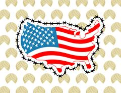 US Map with barbed wire. America closes border in relation to immigrants an.. Stock Illustration