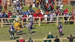 Team of medieval knights from Germany fight with knights from United States Stock Footage