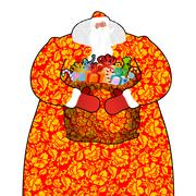 Santa Claus in Russia (Ded Moroz). Father Frost costume painting Khokhloma .. Stock Illustration