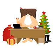 Santa Claus residence. Christmas big boss in Work office. Jobs and armchair.. Stock Illustration