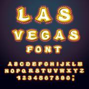 Las Vegas font. Glowing lamp letters. Retro Alphabet with lamps. Vintage sh.. Piirros