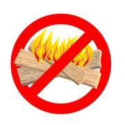 Stop bonfire. It is forbidden to make fire. Emblem against flames. Red proh.. Piirros