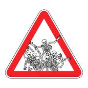 Warning sign of attention sinners. Dangers red sign dead. Skeletons on tria.. Stock Illustration