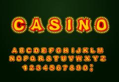 Casino font. Glowing lamp letters. Retro Alphabet with lamps. Vintage alpha.. Stock Illustration