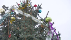 Christmas tree in decorative toys beautiful spruce winter nature tree Stock Footage