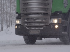 Freight cars winter highway 1 10 Stock Footage