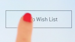 Button add to wish list on various internet websites Stock Footage