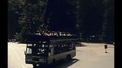 Yosemite touristic bus Stock Footage